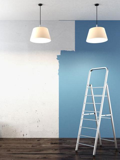 Interior Painting In Progress Blue Wall